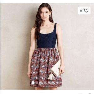 Anthropologie Weston Lacy and Floral dress